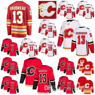 sale retailer 0ca63 b3746 2019 Calgary Flames Alternate Johnny Gaudreau Matthew Tkachuk James Neal  Mark Giordano Mikael Backlund Home Red Away White Hockey Jerseys