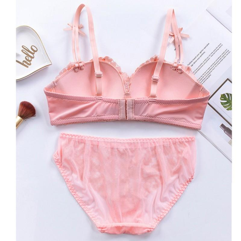 28bea6745ff7c 2019 Women Lingerie Set Floral Lace Bra And Panties Super Gathering Seamless  Wireless Bra See Through Panties Sexy Embroidery Set From Gingerliu