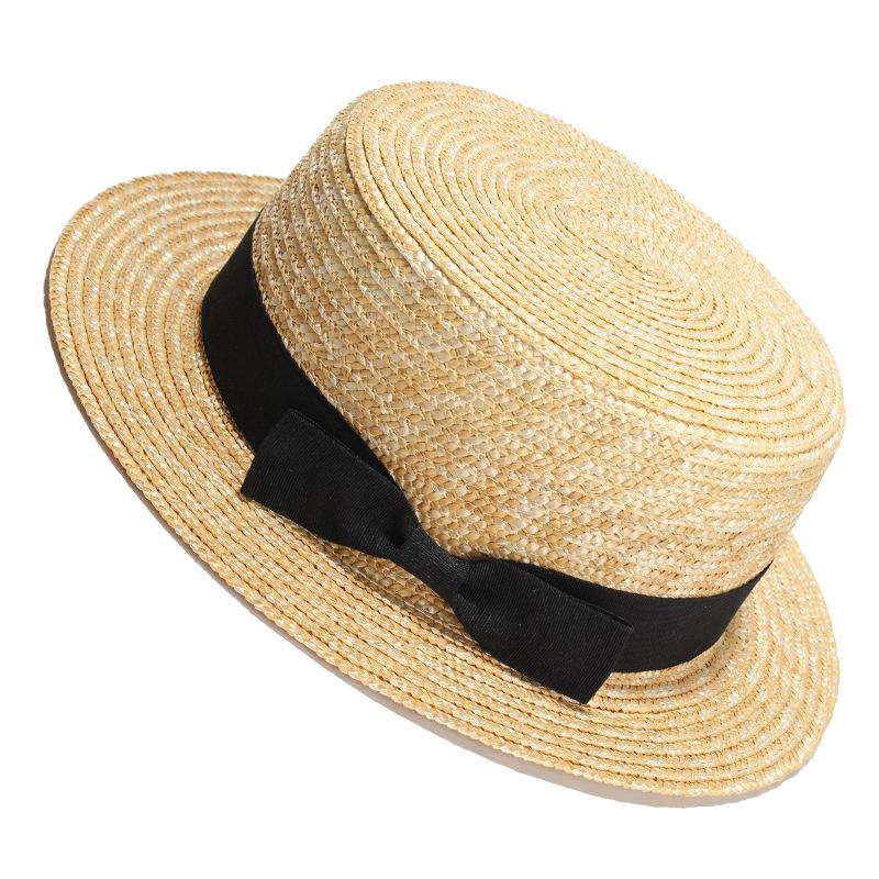 b8fd1c07ad2f0 PADEGAO Women Sun Hat Sunmmer Beach New Flat Top Straw Hat Men Boater Hats  Bone Feminino D18103006 Sun Hats For Women Trilby Hats From Yizhan03