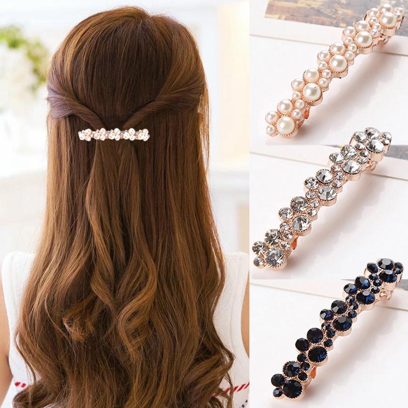 Sale 1 Pc Women Girl Black Crystal Pearl Rhinestone Hair Clip Fashion Claw Hair Accessories Apparel Accessories