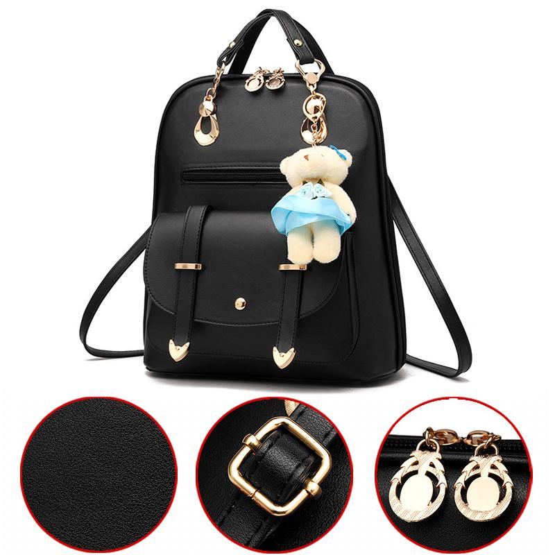 0291fd5d4e Bear Backpack Female School Bags For Girls College Wind Backpacks For  Travel Shoulder Bags Korean Style Large Capacity PU Leather Backpack Tool  Backpack ...