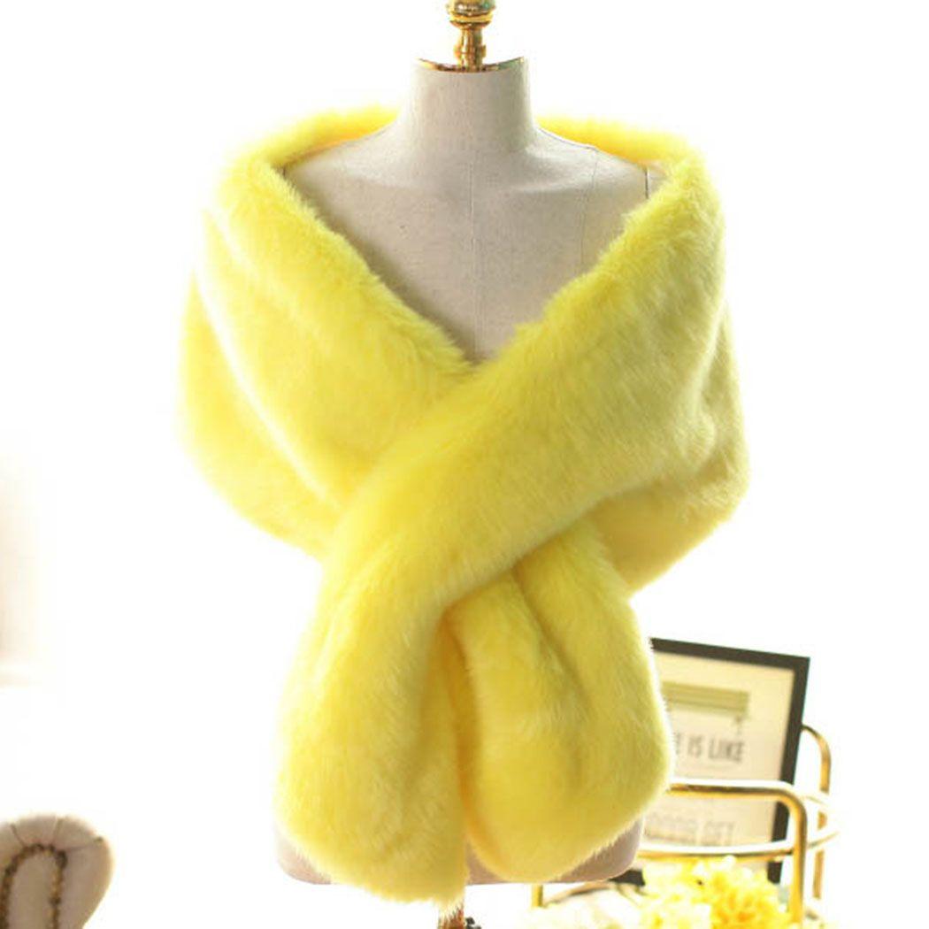 Women Long Bride Fur Shawl Faux Fox Fur Scarf Cape Winter Warm Cashmere Luxury Warp Stole Muffler Cape 008