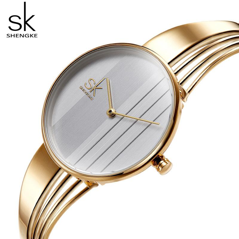 SchöN Shengke Schwarz Mode Uhren Frauen Top Marke Luxus Quarz Damen Armbanduhr Reloj Mujer 2019 Sk Beste Geschenk Uhren Für Frauen Attraktive Designs; Damenuhren
