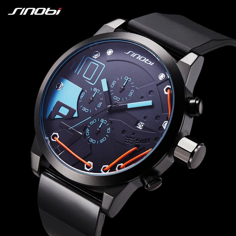 bd43f14856d Compre Atacado SINOBI Relógios Dos Homens Top Marca De Luxo Dos Homens  Relógio De Esportes À Prova D  Água Moda Casual Relógio De Quartzo Relogio  Masculino ...