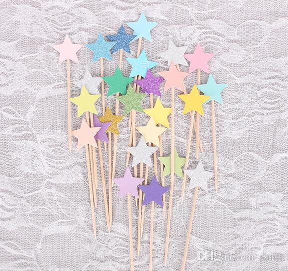 Cupcake Toppers Golden Mix Color Star Paper Cake Toppers Children Favors Decorations For Wedding Baby Shower