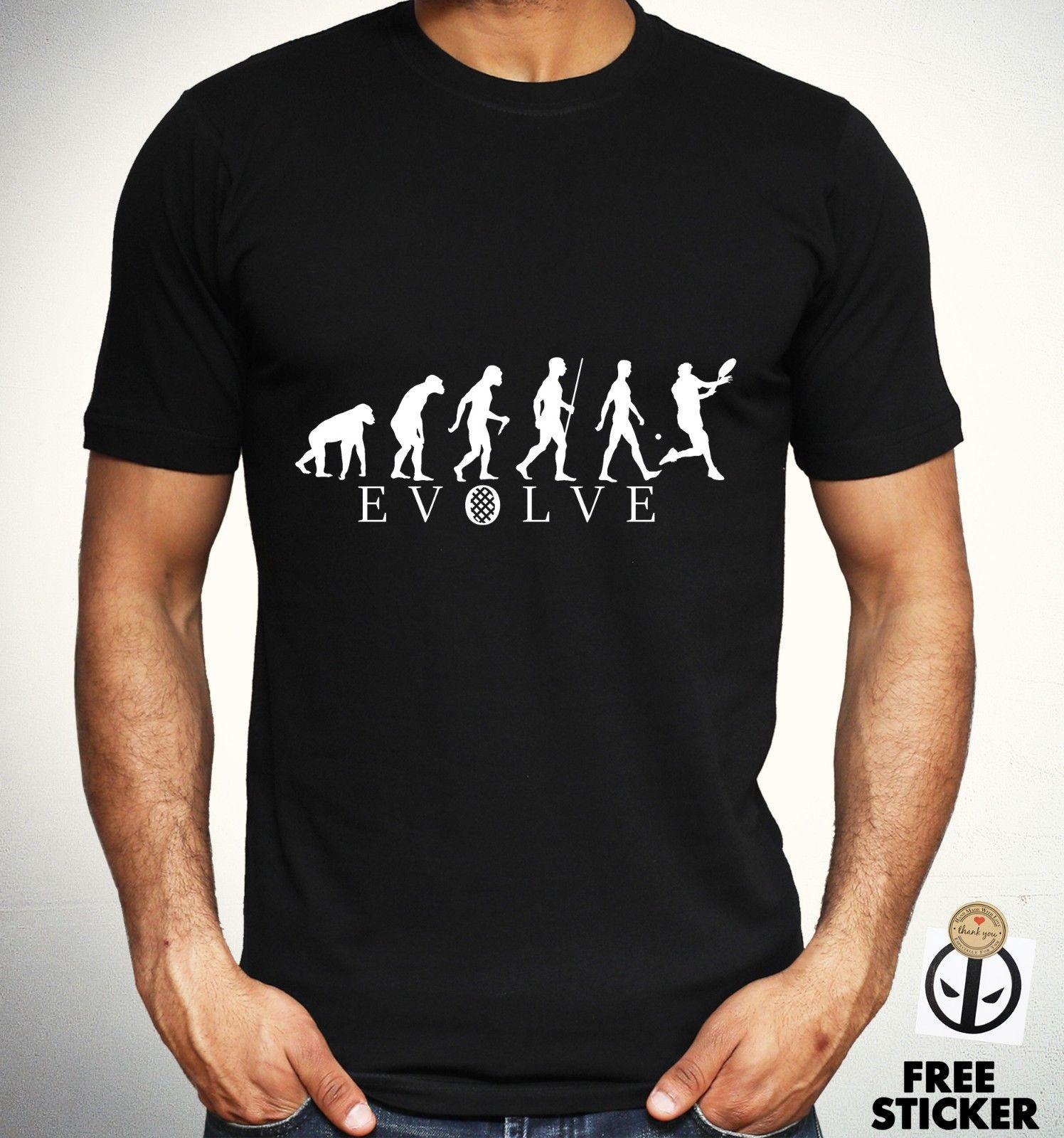 37e934e02 Tennis Evolution T Shirt Funny Human Evolve Tee Sports Novelty Fashion Top  Mens Fun Tee Daily Tee Shirts From Allthingsgood, $11.01| DHgate.Com