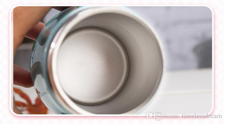 Bicchieri acqua delicati personalizzabili in acciaio inox da 300 ml Boccette bambini in silicone bambini Vacuum Vacuum Flasks Thermos Flask