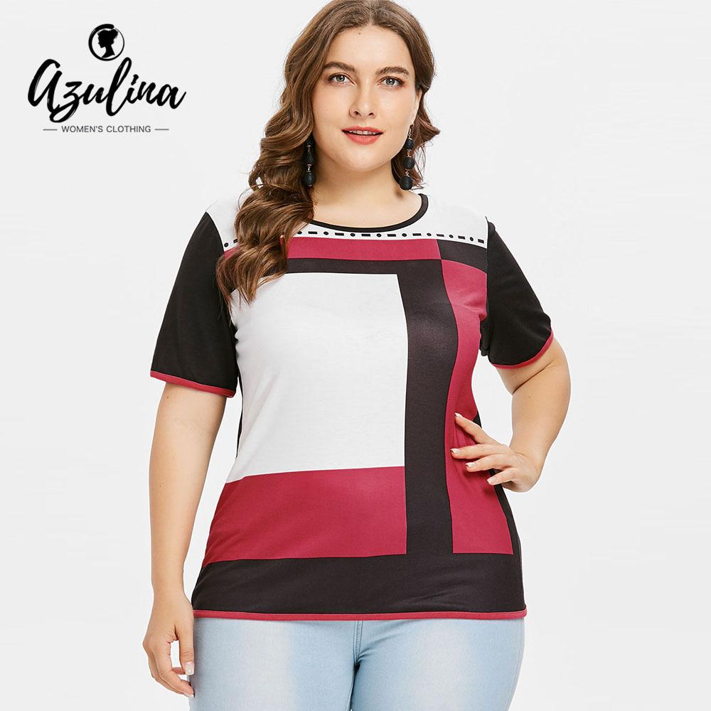 3af4c7a16ab AZULINA Plus Size Geometric Print Color Block Tunic T Shirt Summer Tops O  Neck Short Sleeve Women T Shirt 2018 Big Size Clothing Coolest T Shirt  Shirts With ...
