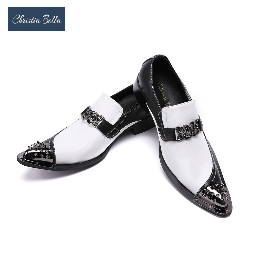 e45d9c486b Christia Bella Men's Flats Fashion Brand Designer Dress Shoes Black and  White Chain Casual Shoes for Men Wedding and Party