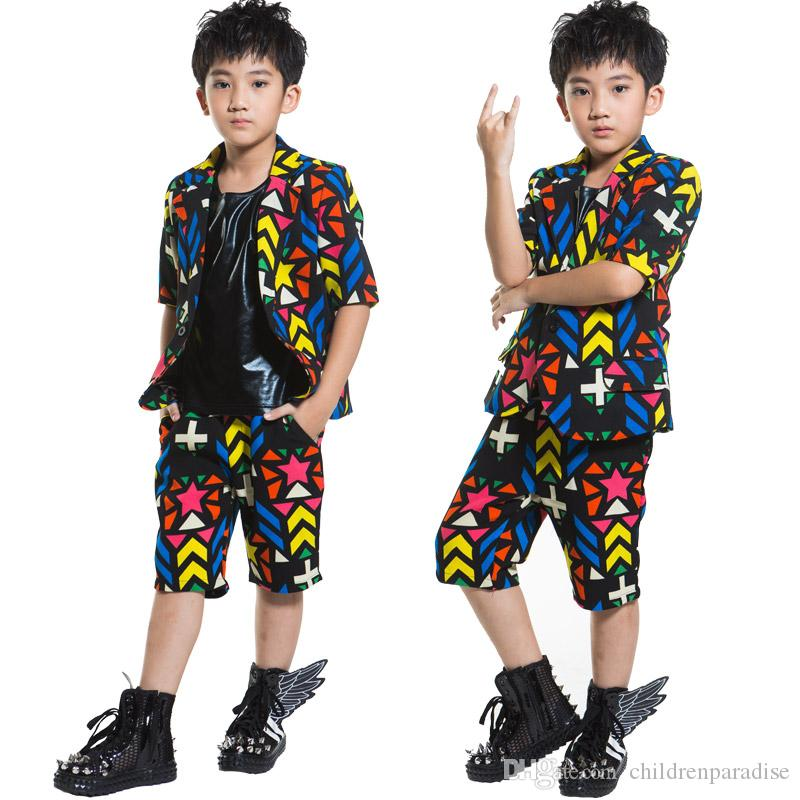 2019 2018 New Fashion Dance Wear Kids Boys Suit Stage Costume For Children  Model Show Half Sleeve Western Style Clothes Dance Costume From  Childrenparadise,