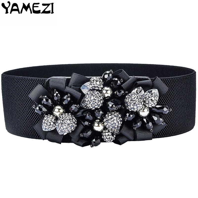 Compre YAMEZI Moda Flores Hechas A Mano Cinturón De Mujer Cintura Elástica  Ancho Cummerbund Mujer Cinturón De Diamantes De Imitación Con Correa De  Cristal ... 2c7b5f2ea0