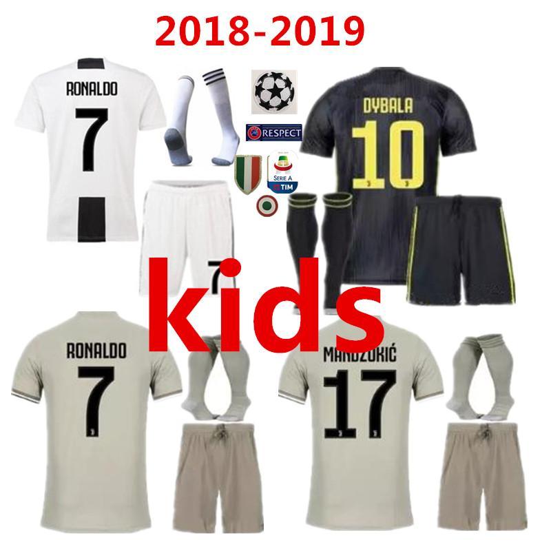 hot sale online db90e 67238 new 2018 juventus soccer Jersey kids Kit 18 19 RONALDO DYBALA HIGUAIN DANI  ALVES PJANIC Marchisio child 2018 2019 soccer Shirt uniforms