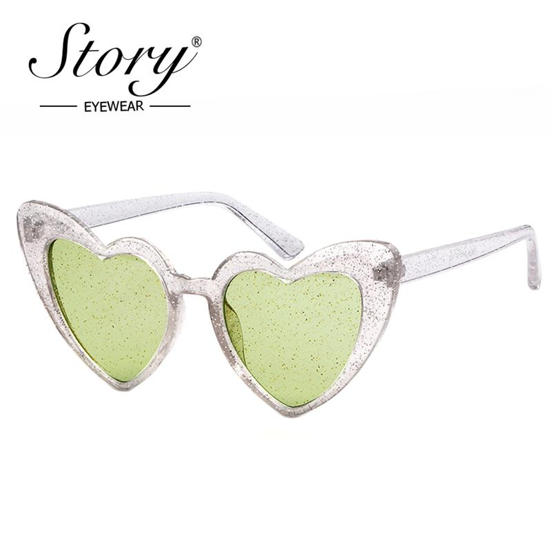a288a20031c STORY 2018 Fashion Crystal Lover Heart Glitter Sunglasses Women Men Brand  Designer Cateye Love Sunglasses 90S Shades Female Cheap Eyeglasses Online  ...