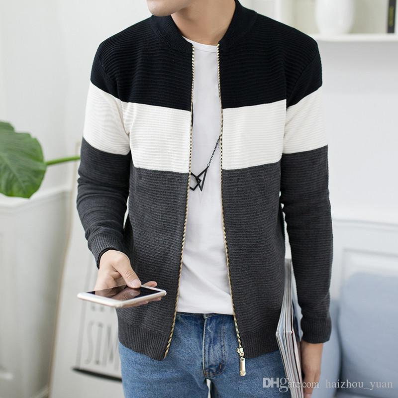 45ec2d95437 Men s New Round Neck Cardigan Sweater Men s Knit Cardigan Thin Paper Jacket  Spring Korean Style Slim Sweater Jacket
