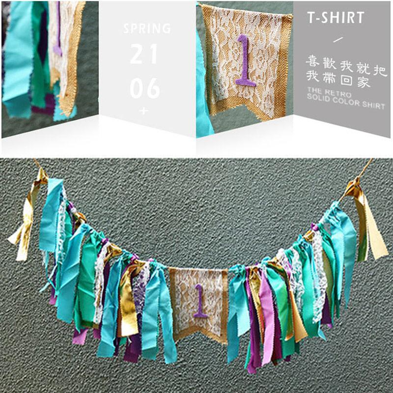lace burlap pennant flag with cloth banner bunting banner for 1st