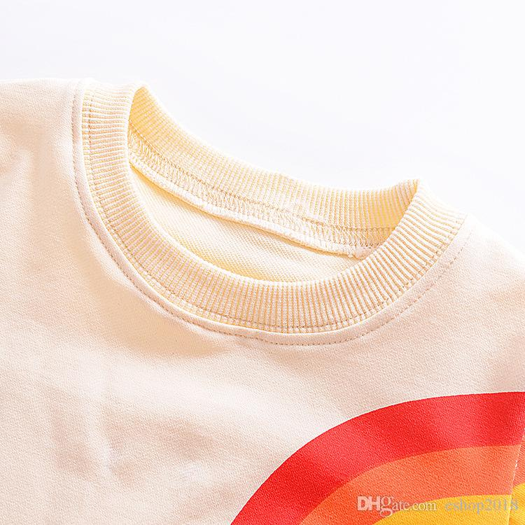 Baby Girls Sweater Long Sleeved Hoodie Cartoon Rainbow Printed Tassels T-shirt Autumn Winter New Kids Clothing Factory