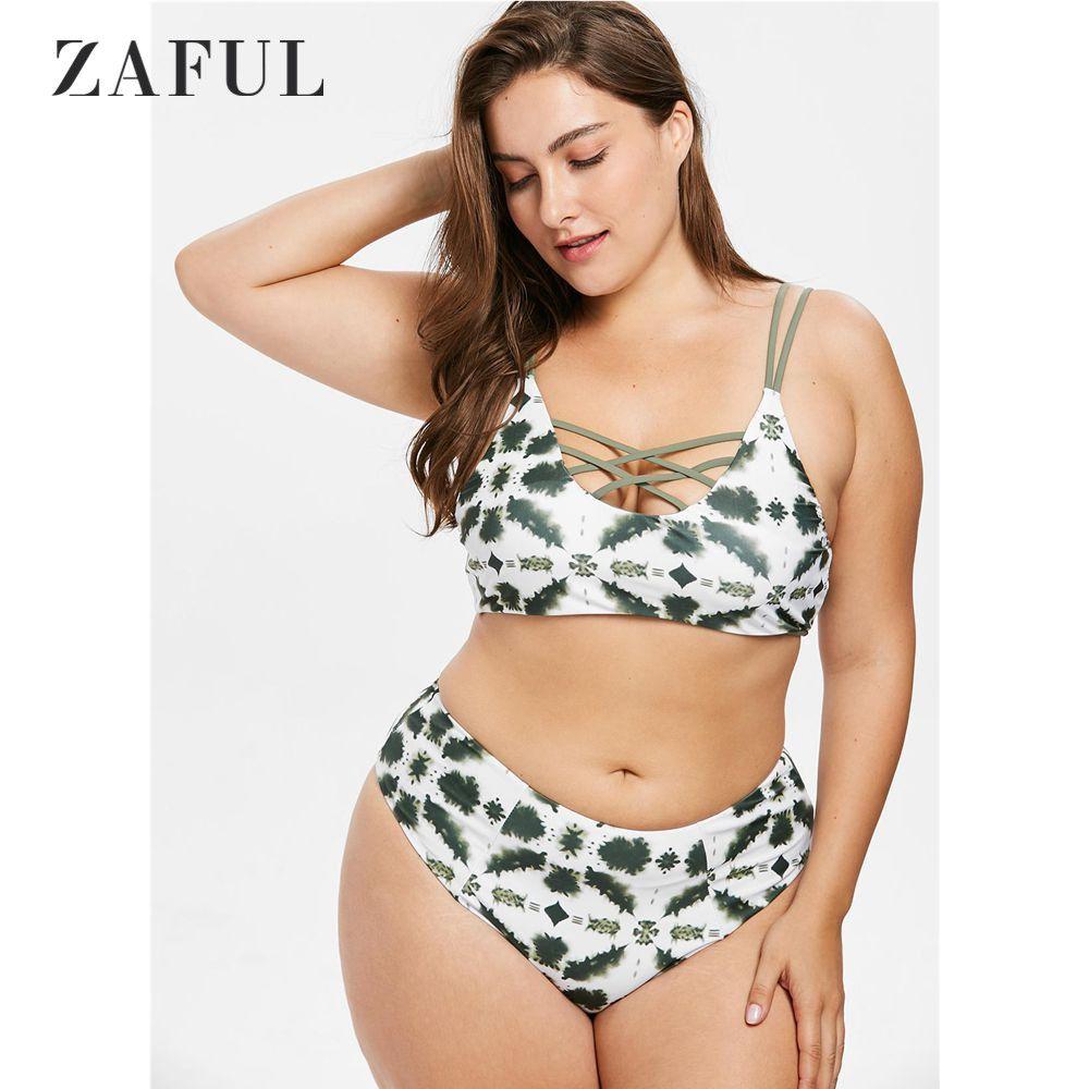 6c55a9498 Compre ZAFUL Plus Size Treliça Tie Dye Biquíni Set Swimsuit Mulheres  Swimwear Plus Size Cintura Alta Swimsuit Acolchoado Maiô Biquni De Rykeri,  ...