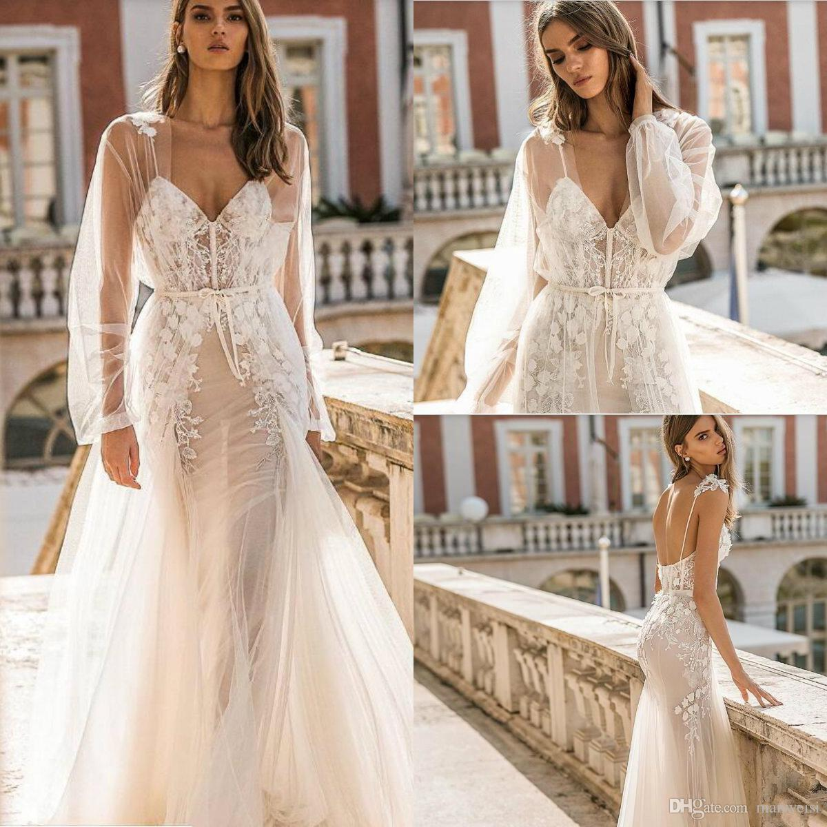 Berta 2019 Mermaid Wedding Dresses With Long Sleeve Jacket Lace Appliques Bridal Gowns Sexy Backless Strap Camo Wedding Dress