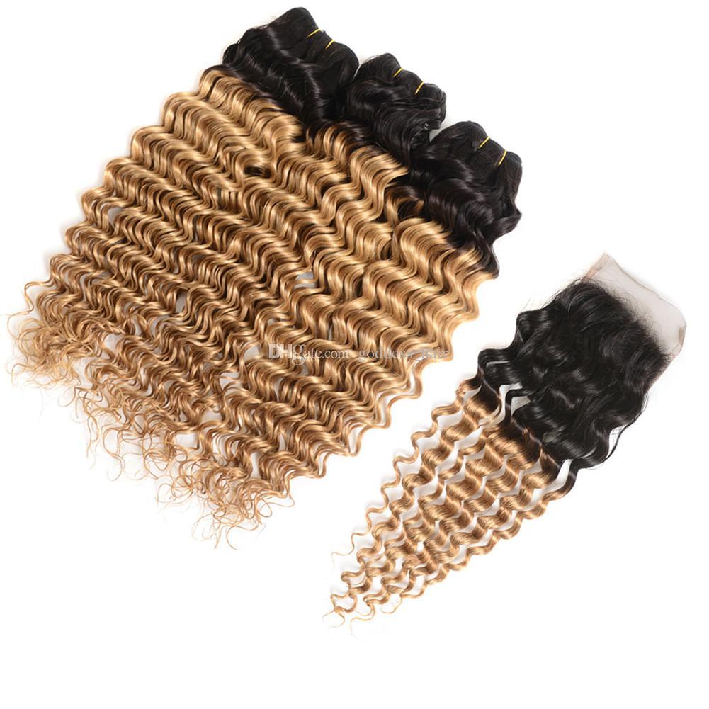 Dark Roots Deep Wave Curly 1B 27 Strawberry Blonde Hair con cierre 3 Bundles con 4 * 4 cierre de cordón Omber Cabello humano con cierre