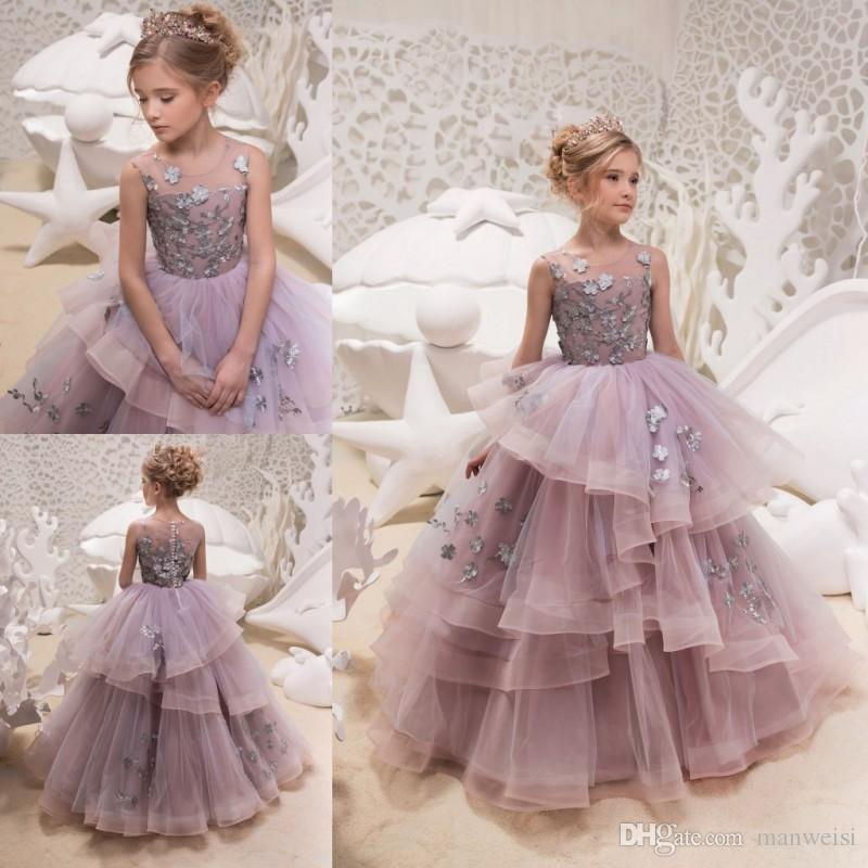 2018 Tulle Girl\'S Pageant Dresses Lace Applique Ball Gown Flower ...
