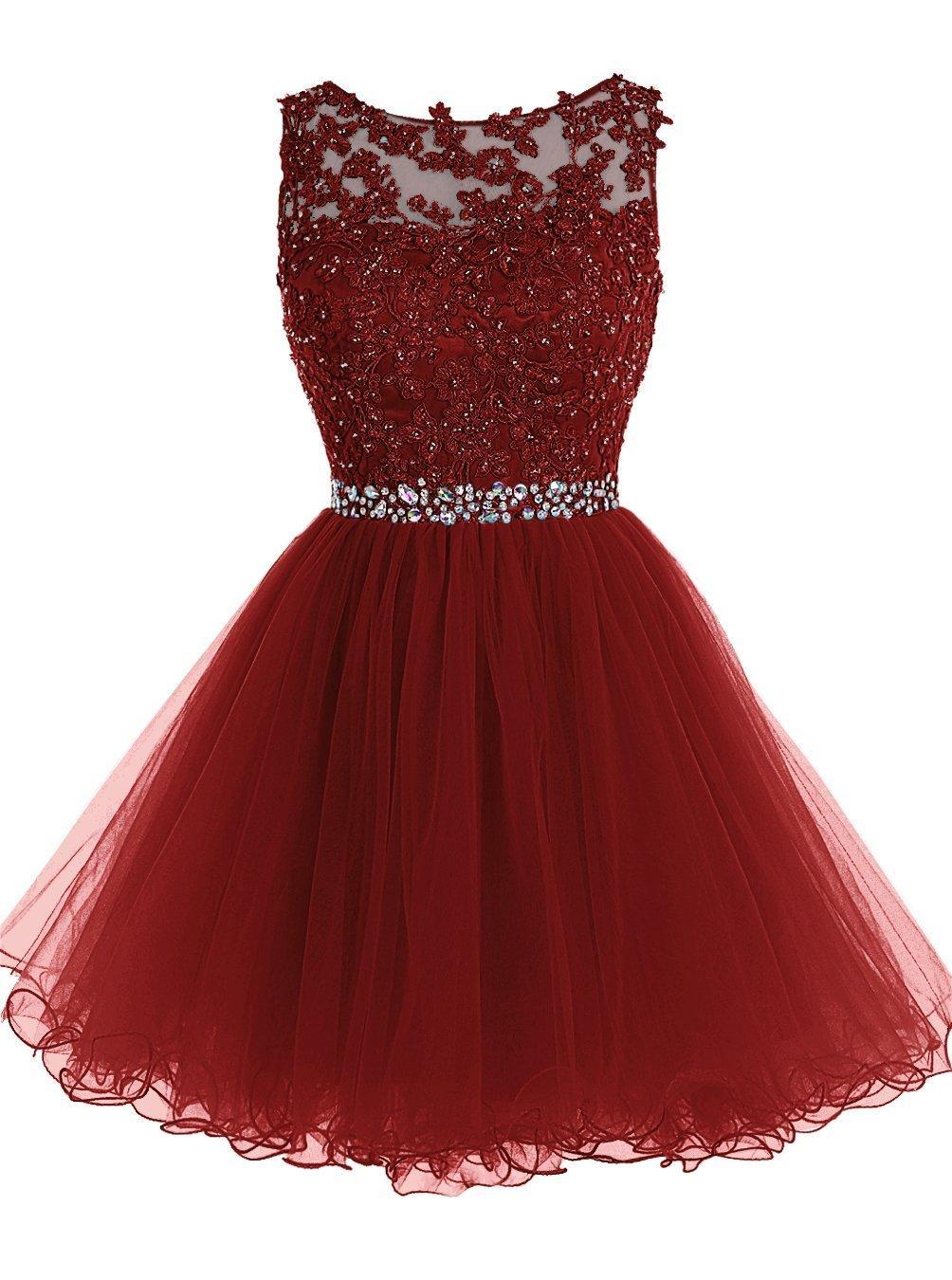 16 Prom apliques de encaje vestidos cortos dulces con los granos del cristal hinchada de tul cóctel partido de los vestidos Pequeño Negro graduación Vestidos del regreso al hogar