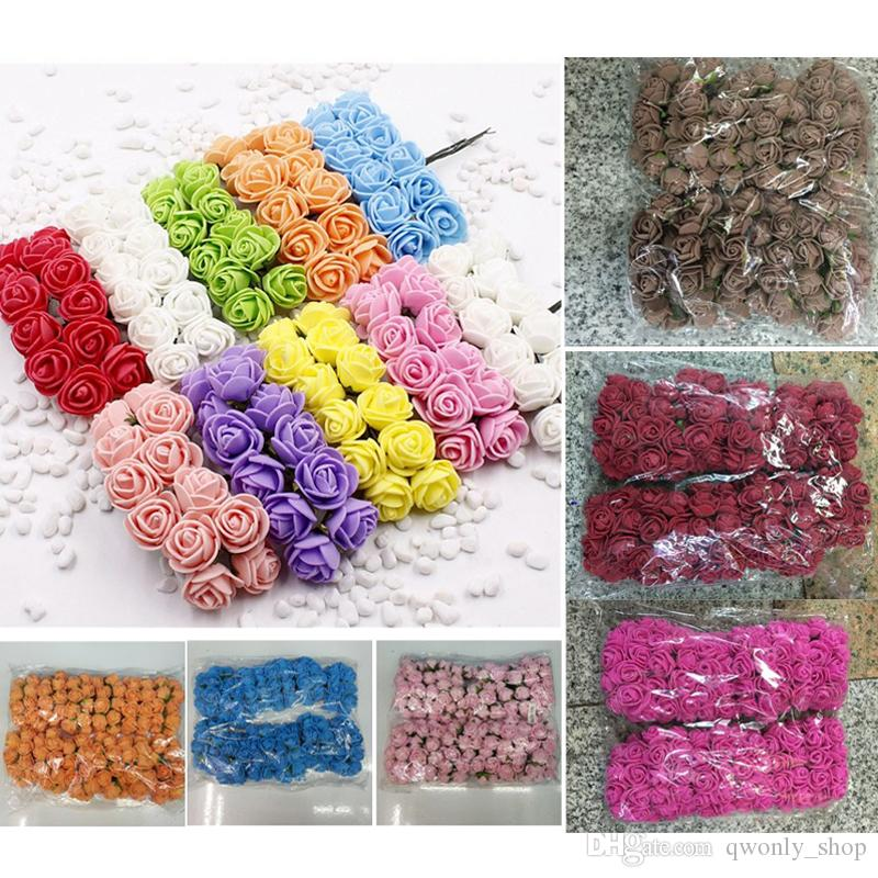 144pcs/lot Mini Foam Rose Artificial Flowers For Home Wedding Car Decoration DIY Pompom Wreath Decorative Bridal Flower Fake Flower 13colors