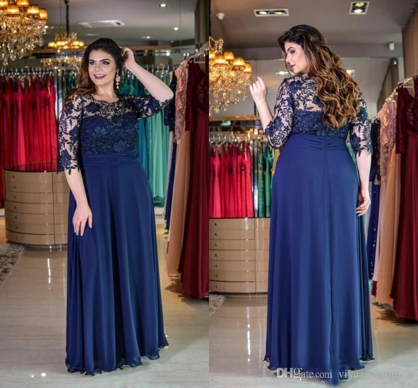 a11ffcd339 Navy Blue 2019 Plus Size Mother of The Bride Groom Dresses Sheer Half  Sleeves Appliques Lace Backless Chiffon Long Formal Prom Evening Gowns