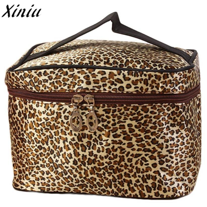 82d5219c4b94 Makeup Travel Bag Leopard Print PU Leather Cosmetic Bags Women Zipper Large Cosmetic  Bag Organizer Cosmetiquera Mujer  Y108 Online Makeup Store Personalized ...