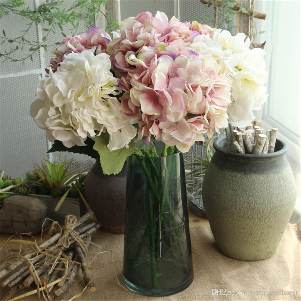 2018 54cm Artificial Flower Branch Hydrangea Fake Silk Flowers
