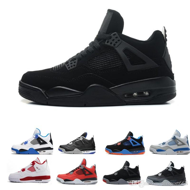 7cb2d600321 2018 4 4s Basketball Shoes Men Pure Money Royalty White Cement Raptors  Black Cat Bred Fire Red Mens Trainers Sports Sneakers Size 8 12 Sneakers  Online Shaq ...