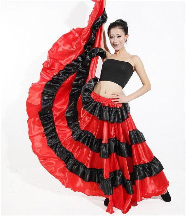 Ekstra 2019 720 Angle Spain Paso Doble Skirts Flamenco Skirts Black Red VO-58