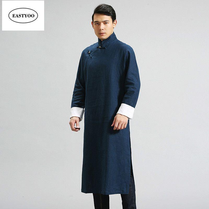 Compre Vestido Tradicional Chino Hombres Cuello Mandarín Trajes Largos Más  El Tamaño Ropa Tradicional China Lino Gabardinas Largo Traje De Hombre A   73.39 ... 673dc5346cfb