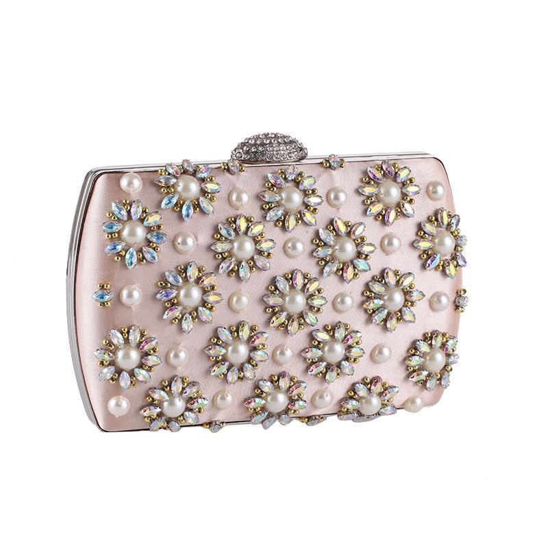 Flower Evening Bags Women Clutch Bags Evening Clutch Wedding Bridal Handbag  Pearl Beaded Fashion Rhinestone Purses Online Black Leather Handbags From  ... a69576e76f