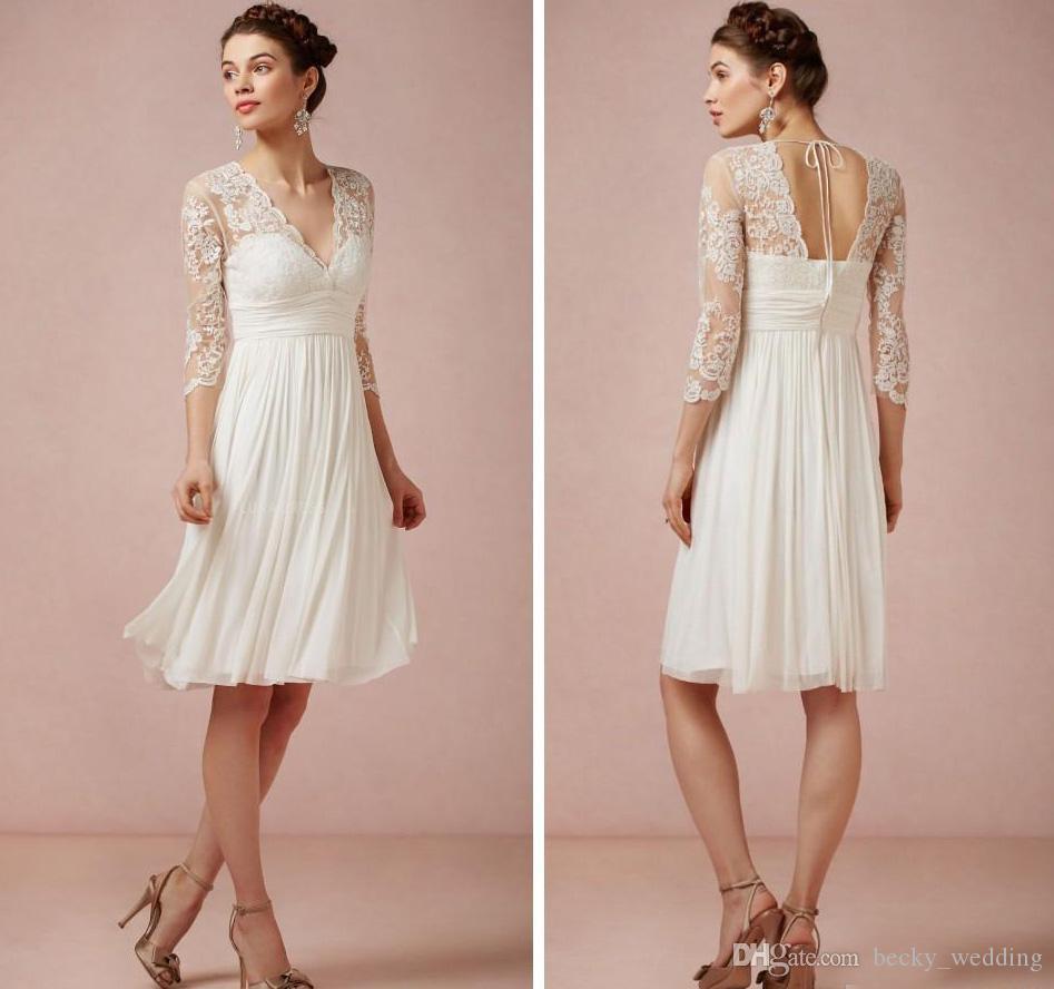 Ivory Chiffon New Bridesmaid Dress V Neck Pleats Lace Half Sleeve ...