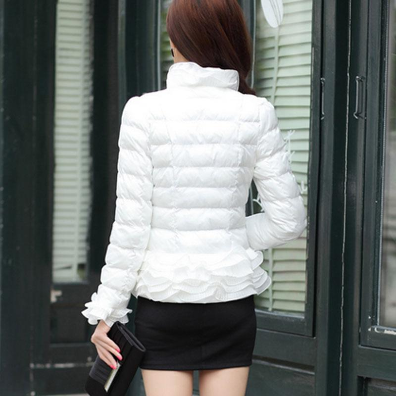 2017 winter jacket women coat jacket short Ruffles spring girl sweet white down parka women jackets Autumn Women's clothing
