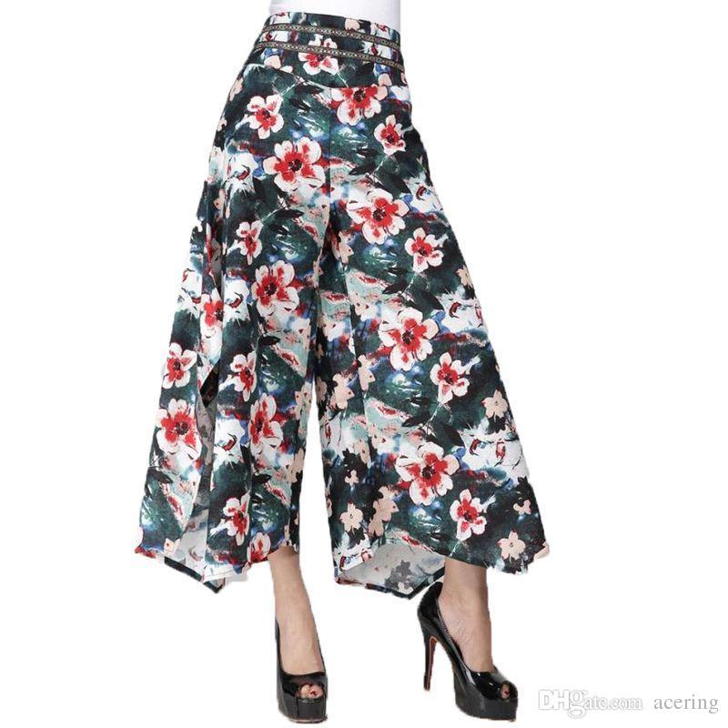 Compre Mulheres Verão Impressão Floral Étnica Perna Larga Calça Solta De  Linho + Algodão Vestido Calças Femininas Calças Casuais Saia Capris  Culottes KL129 ... 65460def95d