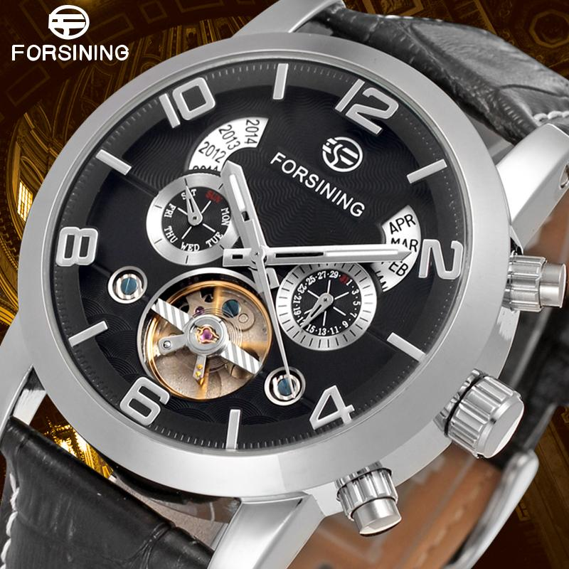 Business Negro Pulsera Reloj De Forsining Genuino Para Automático Hombre Color Cuero Esqueleto Classic 3jc45qARL