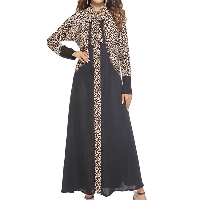 6f40cce241b9a Women Muslim Dress Leopard Sexy Elegant Long Dress Abaya Gowns ...