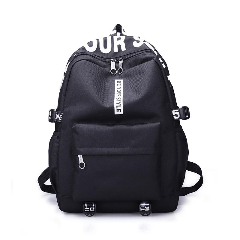 6f0311585cc Female Fashion Junior High School Backpack Letters Print School Bags For  Girls Black Backpack Teenagers Canvas Schoolbag Gym Bags For Men School Bags  For ...