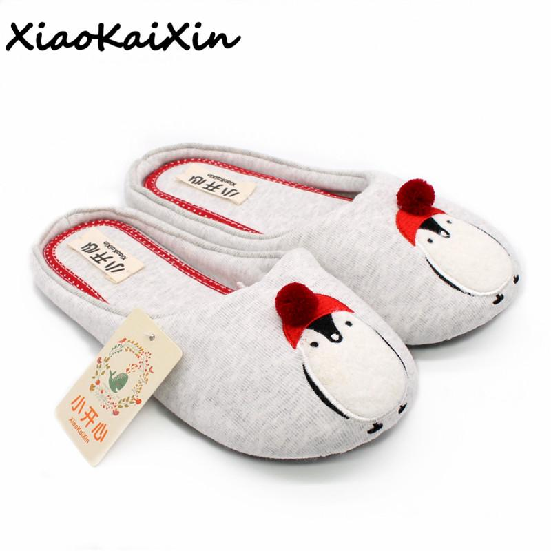 8b4596802 Cute Penguin Animal Pattern Home Slippers Women Indoor Shoes For Bedroom  House Adult Guest Soft Bottom Flats Christmas Gift Over The Knee Boots  Womens Boots ...