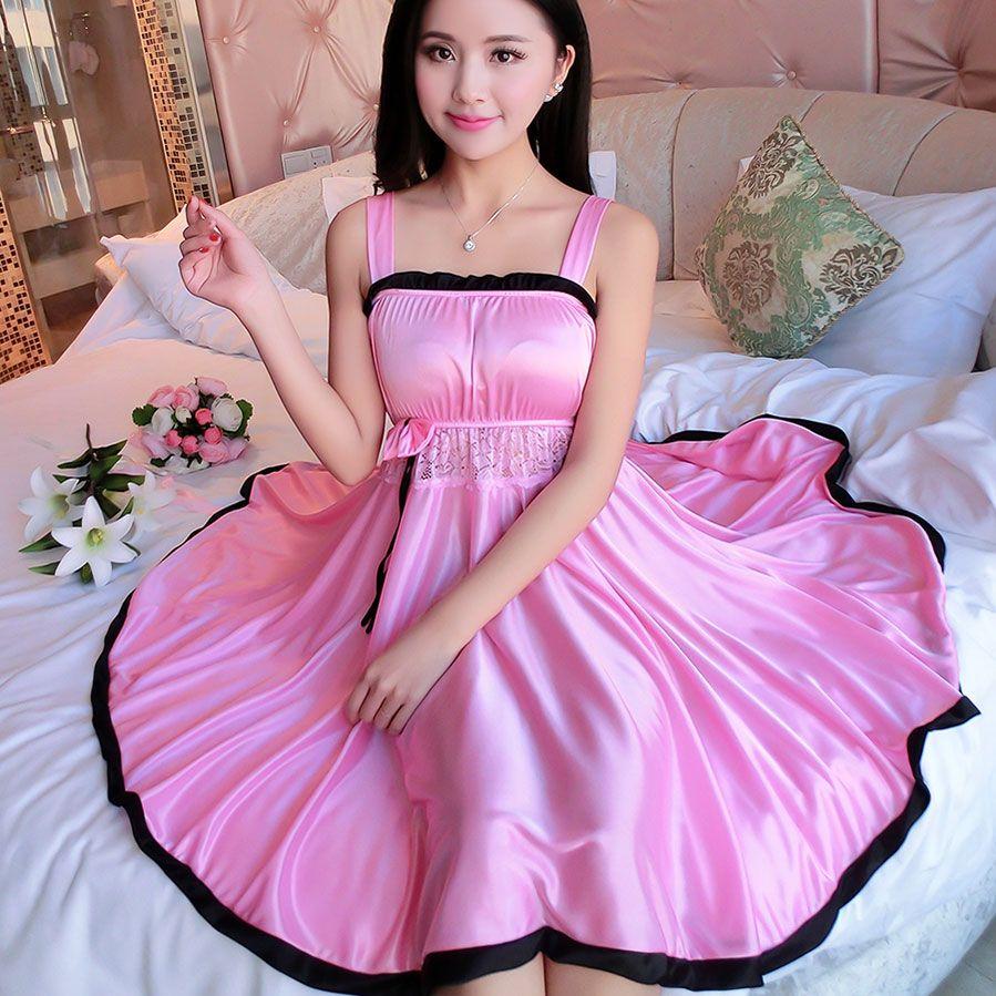 2019 Ladies Sexy Silk Satin Night Dress Sleeveless Nighties V Neck Nightgown  Plus Size Nightdress Lace Sleepwear Nightwear For Women From Baldwing bfe11e39d