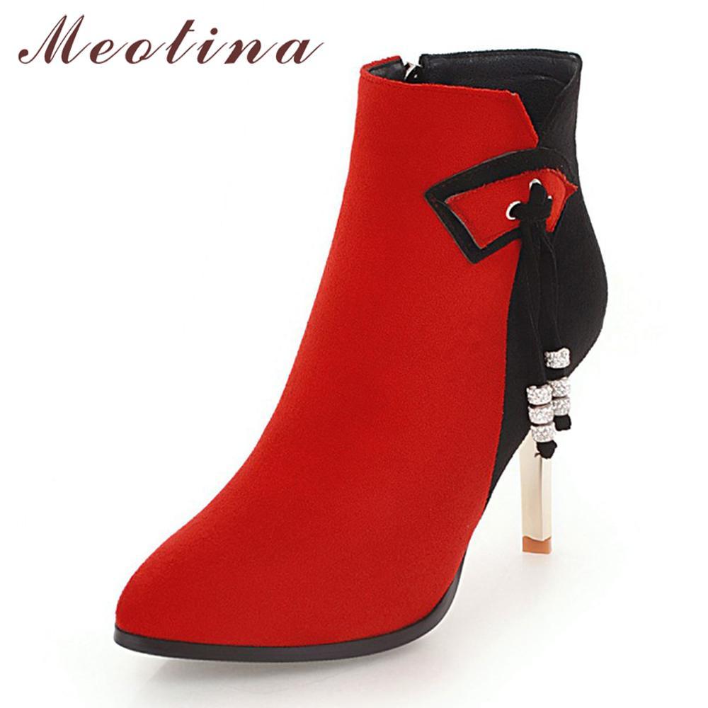 Meotina Fringe Women Boots Winter Sexy High Heel Boots Zipper