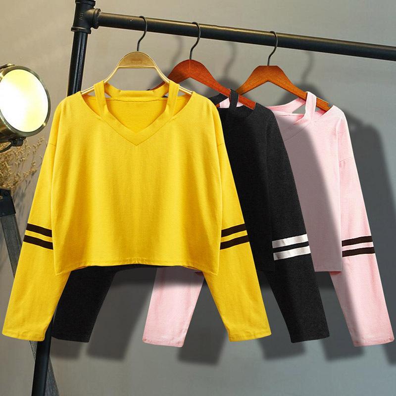 f60d891fa7e1a Compre 2019 Ropa Para Mujer Popular Sudadera De Manga Larga Cuello En V  Caus Tops Blusa Hermosa Nueva Moda Estilo Juvenil A  24.92 Del Feeling09