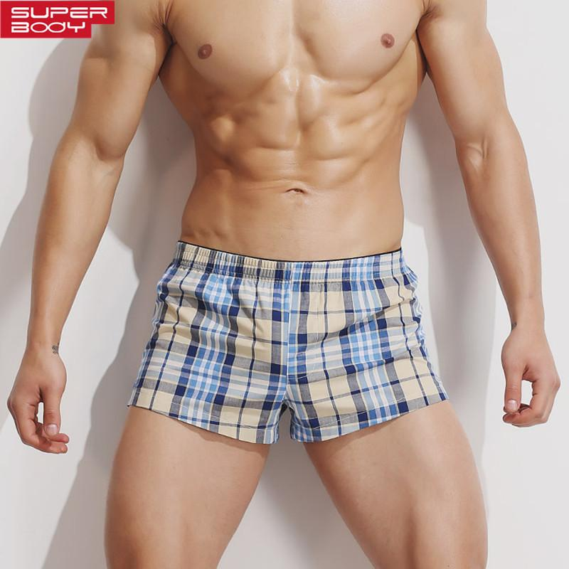 SUPERBODY Men Underwear Boxers Shorts 100% Cotton Men Boxers Plaid Male Underwear Loose Home Sleepwear Underpants