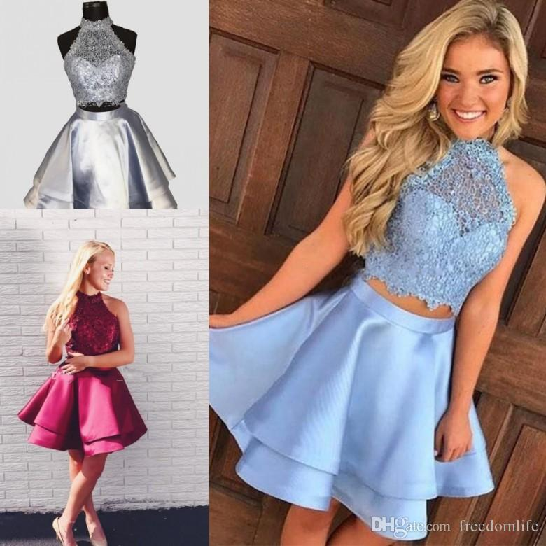 5f1e94522b4 New Arrival Two Piece Homecoming Dresses High Neck Sleeveless Lace Satin  Backless Royal Blue Light Sky Blue Red Short Party Dress Prom Gowns Dresses  Uk ...