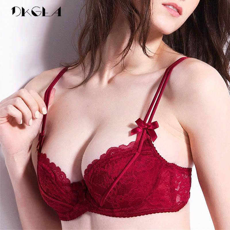 3478737611c394 2019 Plus Size 38 36 D Cup Bras Push Up Women Lingerie Pink Sexy Bra Set  Thin Cotton Underwear Set Lace Brassiere Black Embroidery From Nakewei