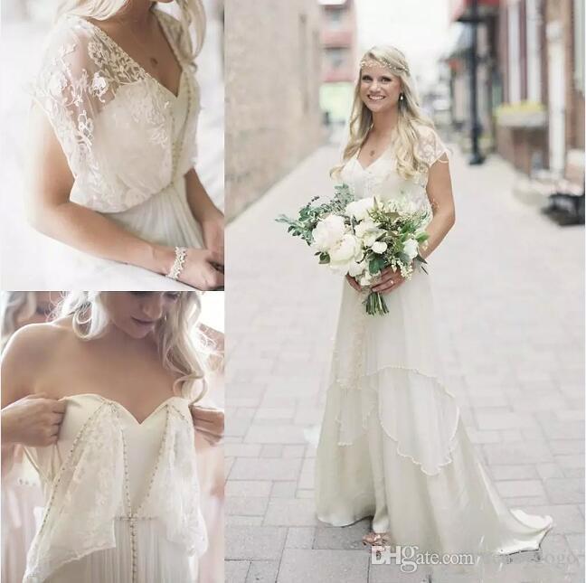Robes de mariée d'été Bohemian Cheap Sheer Neck Appliques Backless Boho en mousseline de soie robe de mariée perlée longues robes de mariée