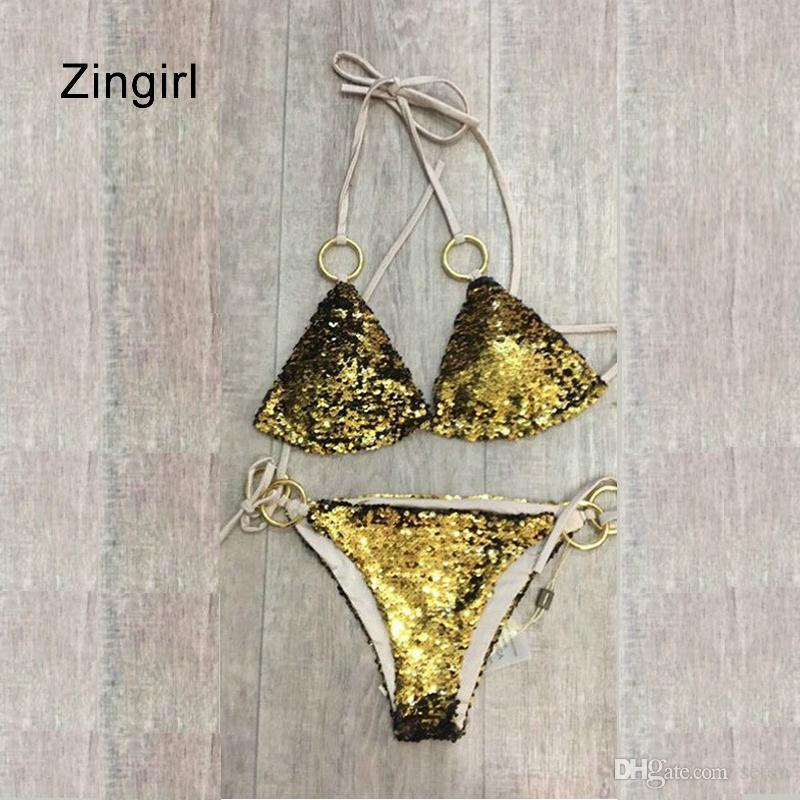 2019 Zingirl Sexy Gold Sequin Halter Intimates Bra   Brief Bra Set Low  Waist Straps Underwear Women Lace Metal Cut Out Lingerie Sets From Seten c7e101d01