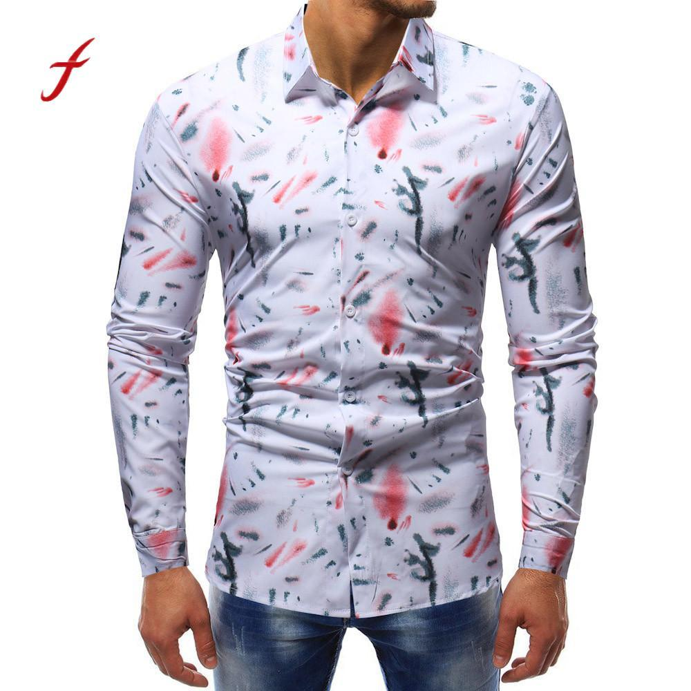 223a263471b2 Großhandel Feitong Männer Hemden Mann Art Und Weise Gedruckte Bluse  Beiläufige Lange Hülsen Dünne Hemd Oberseiten 2018 Neuzugang Frühlings  Herbst Männer ...
