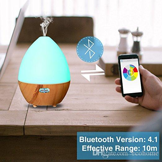 Ultrasonic Humidifier Bluetooth Speaker Aroma Essential Oil Diffuser with LED Lamp Auto Shut-off Function App Control for Home Spa